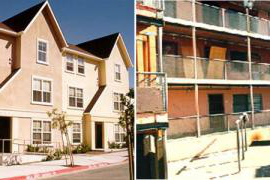 In 1998, the San Francisco Housing Authority (SFHA) began redeveloping the Hayes Valley site, shown above, as part of the national HOPE IV Program to revitalize public housing. On the left is the site before redevelopment. The photo on the right shows Hayes Valley after HOPE IV redevelopment. (Images courtesy of SFHA)