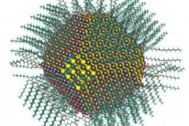 Calculated atomic structure of a 5nm diameter nanocrystal passivated with oleate and hydroxyl ligands.