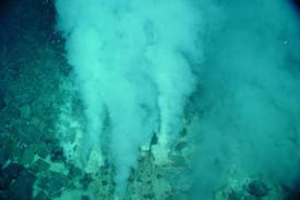 "The researchers found that thioredoxin, a protein that plays a major role in contemporary photosynthesis, plays a similar role in a microorganism living in a ""white smoker"" vent like the one pictured above. (Photo courtesy of NOAA Pacific Marine Environmental Laboratory)"